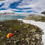 Drone photo: The area near the glacier is great for camping. Tents: green MSR Hubba and orange Mountain Hardwear Direct 2 EV